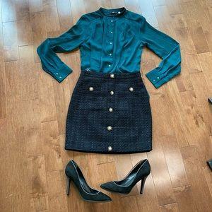 H&M green satin button down shirt blouse size 2